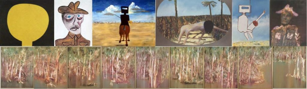 """Sidney Nolan, clockwise from top left: """"Moonboy"""" 1940, """"Head of Soldier"""" 1942, """"Ned Kelly"""" 1946, """"Mrs Fraser"""" 1947, """"Beyond is Anything"""" 1974, Untitled portrait of army corporal 1969, """"Riverbend"""" 1964"""